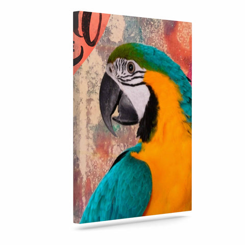 "AlyZen Moonshadow ""Hello Love Parrot"" Multicolor Teal Digital Art Canvas"