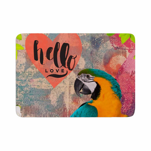 "AlyZen Moonshadow ""Hello Love Parrot"" Multicolor Teal Digital Memory Foam Bath Mat"