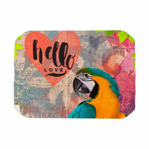 "AlyZen Moonshadow ""Hello Love Parrot"" Multicolor Teal Digital Place Mat"
