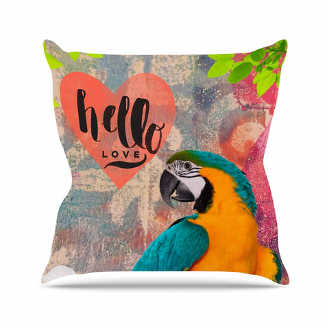 "AlyZen Moonshadow ""Hello Love Parrot"" Multicolor Teal Digital Throw Pillow"