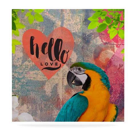 "AlyZen Moonshadow ""Hello Love Parrot"" Multicolor Teal Digital Luxe Square Panel"