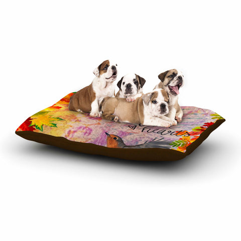 "AlyZen Moonshadow ""Full Hearts"" Multicolor Orange Digital Dog Bed"