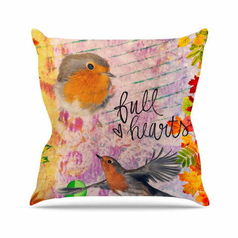 "AlyZen Moonshadow ""Full Hearts"" Multicolor Orange Digital Throw Pillow"