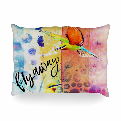 "AlyZen Moonshadow ""Fly Away"" Multicolor Red Digital Oblong Pillow"