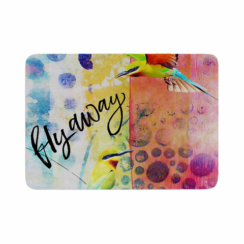 "AlyZen Moonshadow ""Fly Away"" Multicolor Red Digital Memory Foam Bath Mat"