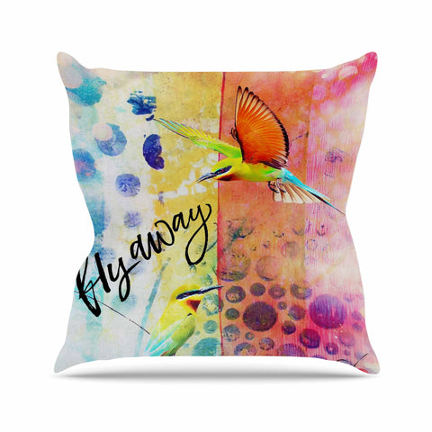 "AlyZen Moonshadow ""Fly Away"" Multicolor Red Digital Throw Pillow"