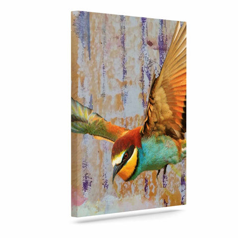 "AlyZen Moonshadow ""Find Your Happiness 2 Birds"" Multicolor Orange Digital Art Canvas"