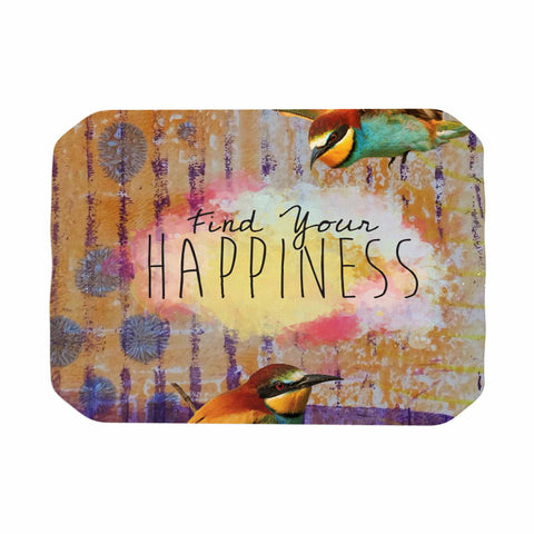 "AlyZen Moonshadow ""Find Your Happiness 2 Birds"" Multicolor Orange Digital Place Mat"