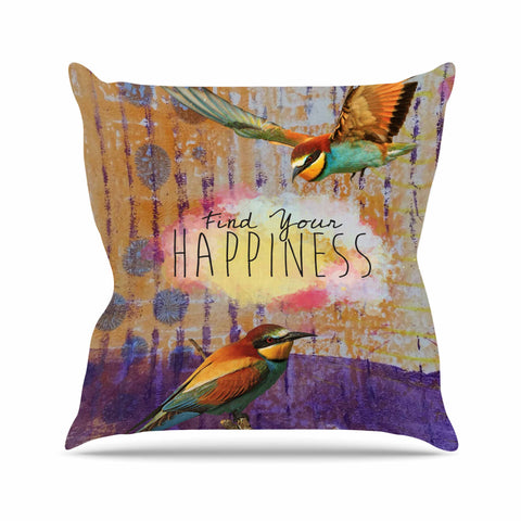 "AlyZen Moonshadow ""Find Your Happiness 2 Birds"" Multicolor Orange Digital Throw Pillow"