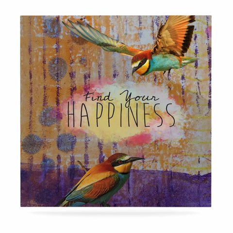 "AlyZen Moonshadow ""Find Your Happiness 2 Birds"" Multicolor Orange Digital Luxe Square Panel"