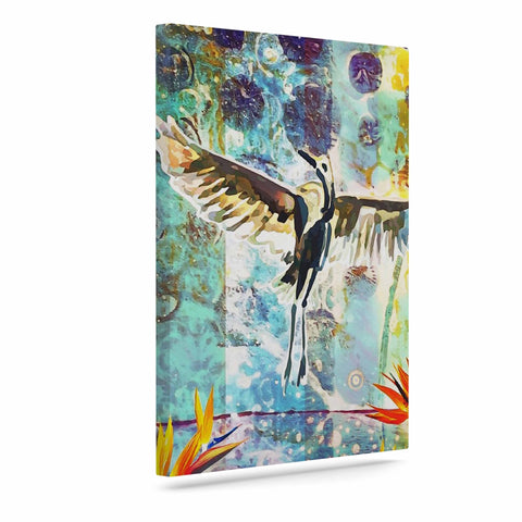 "AlyZen Moonshadow ""Birds Of Paradise With Stork"" Multicolor Green Digital Art Canvas"