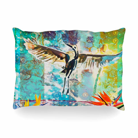 "AlyZen Moonshadow ""Birds Of Paradise With Stork"" Multicolor Green Digital Oblong Pillow"