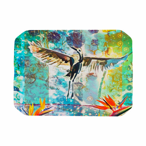 "AlyZen Moonshadow ""Birds Of Paradise With Stork"" Multicolor Green Digital Place Mat"