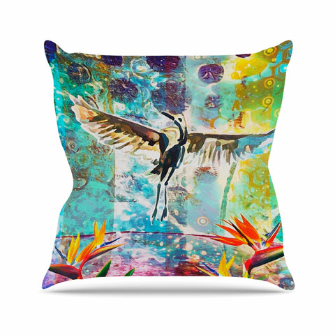 "AlyZen Moonshadow ""Birds Of Paradise With Stork"" Multicolor Green Digital Throw Pillow"