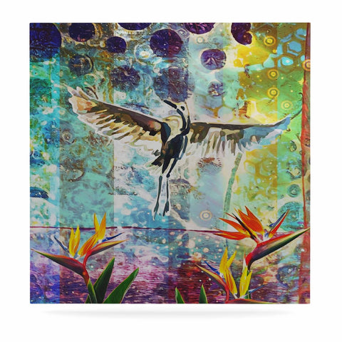 "AlyZen Moonshadow ""Birds Of Paradise With Stork"" Multicolor Green Digital Luxe Square Panel"