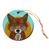 "Art Love Passion ""Colored Fox"" Blue Orange Circle Holiday Ornament"
