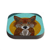 "Art Love Passion ""Colored Fox"" Blue Orange Coasters (Set of 4)"
