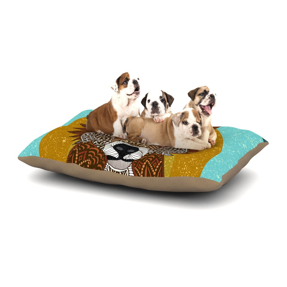 "Art Love Passion ""Colored Fox"" Blue Orange Dog Bed - KESS InHouse  - 1"