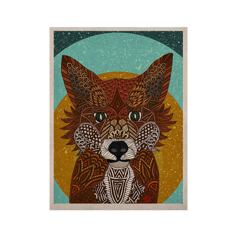 "Art Love Passion ""Colored Fox"" Blue Orange KESS Naturals Canvas (Frame not Included) - KESS InHouse  - 1"