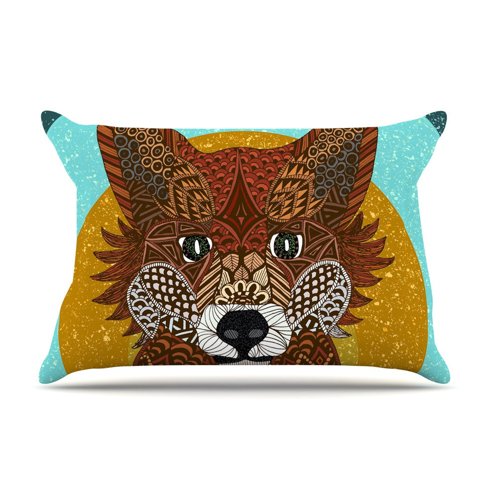 "Art Love Passion ""Colored Fox"" Blue Orange Pillow Sham - KESS InHouse  - 1"