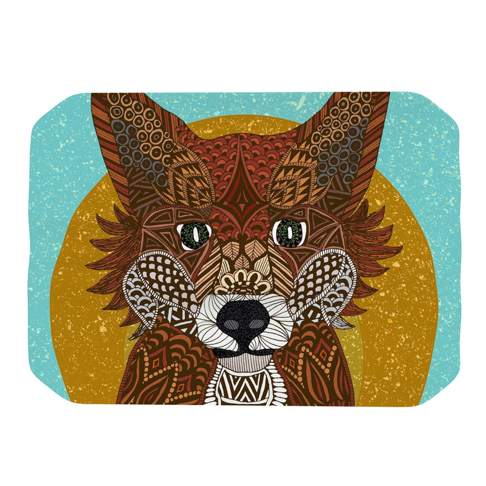 "Art Love Passion ""Colored Fox"" Blue Orange Place Mat - KESS InHouse"