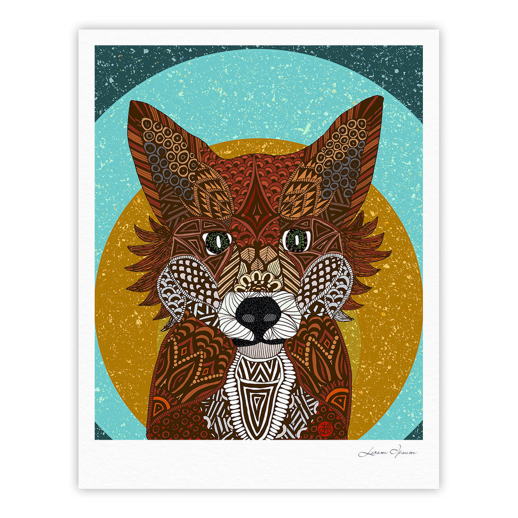"Art Love Passion ""Colored Fox"" Blue Orange Fine Art Gallery Print - KESS InHouse"