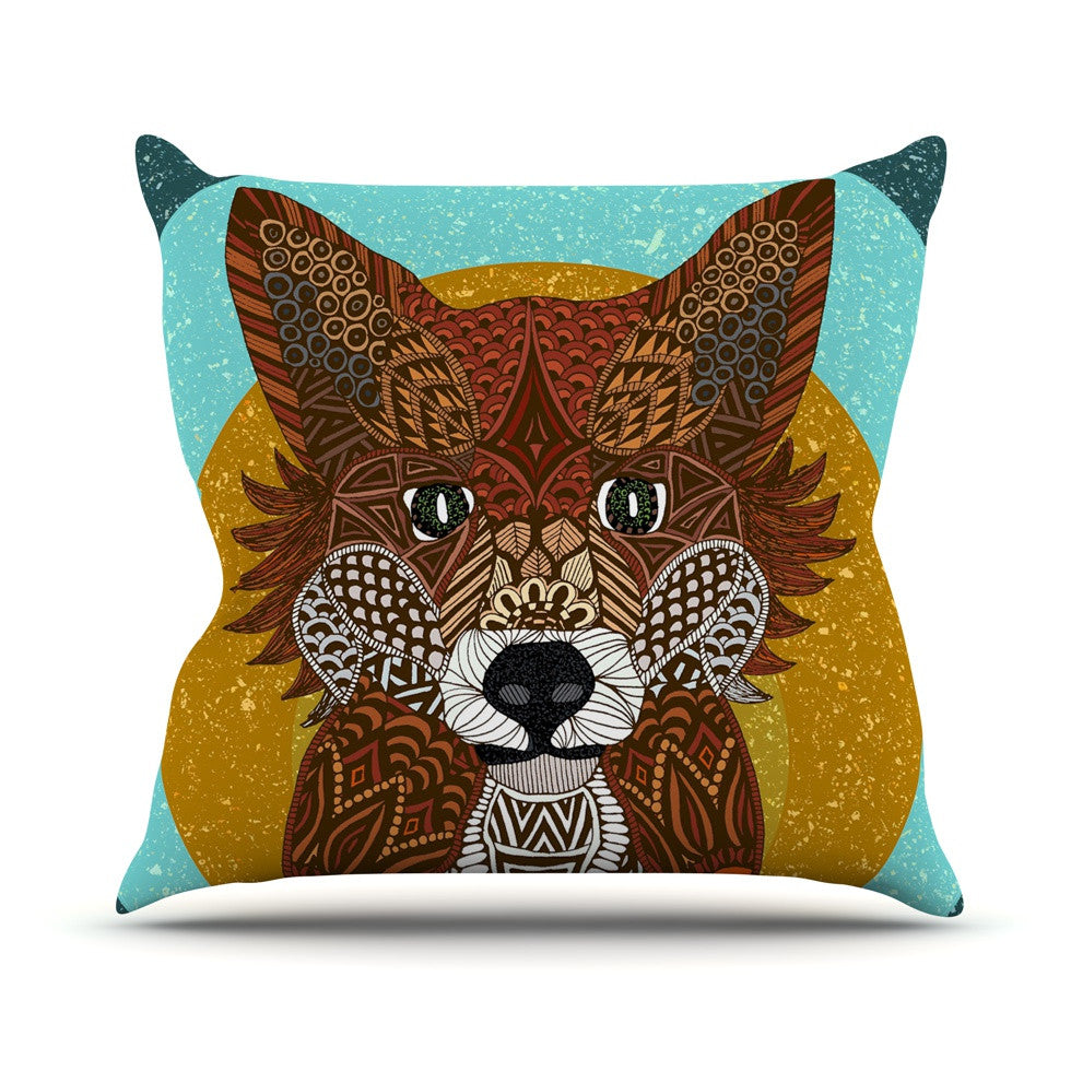 "Art Love Passion ""Colored Fox"" Blue Orange Outdoor Throw Pillow - KESS InHouse  - 1"
