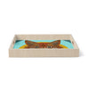 "Art Love Passion ""Colored Fox"" Blue Orange Birchwood Tray"