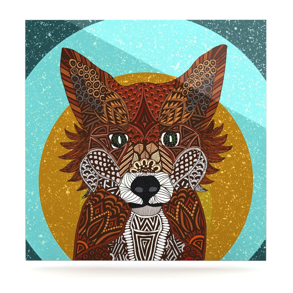 "Art Love Passion ""Colored Fox"" Blue Orange Luxe Square Panel - KESS InHouse  - 1"