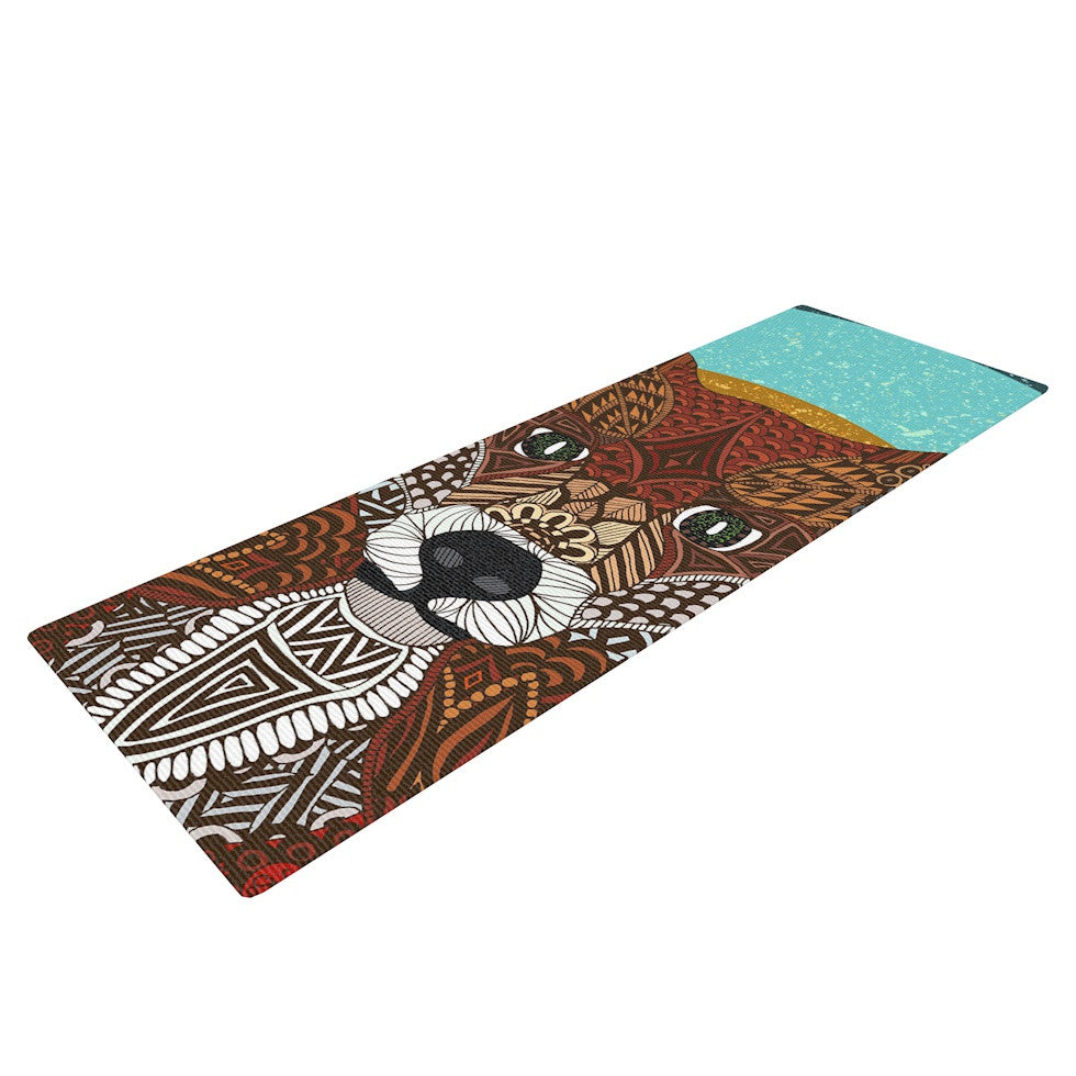 "Art Love Passion ""Colored Fox"" Blue Orange Yoga Mat - KESS InHouse  - 1"