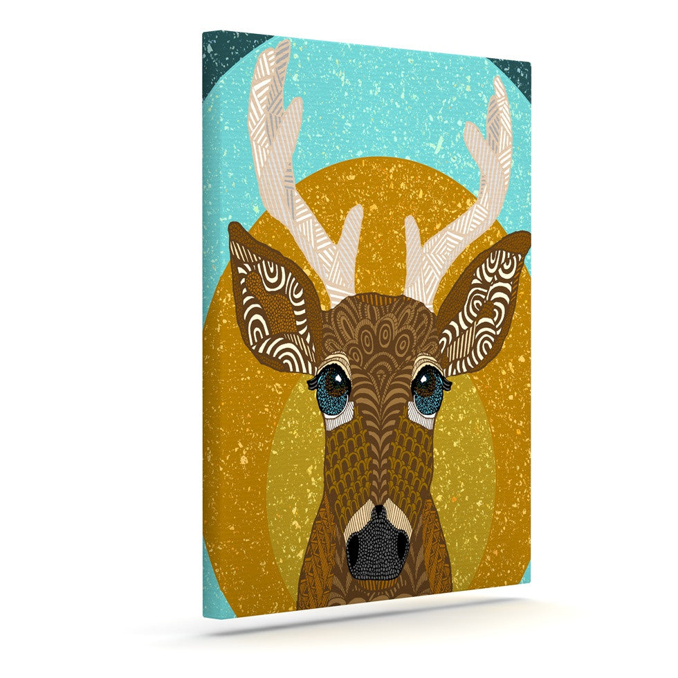 "Art Love Passion ""Stag in Grass"" Yellow Blue Canvas Art - KESS InHouse  - 1"