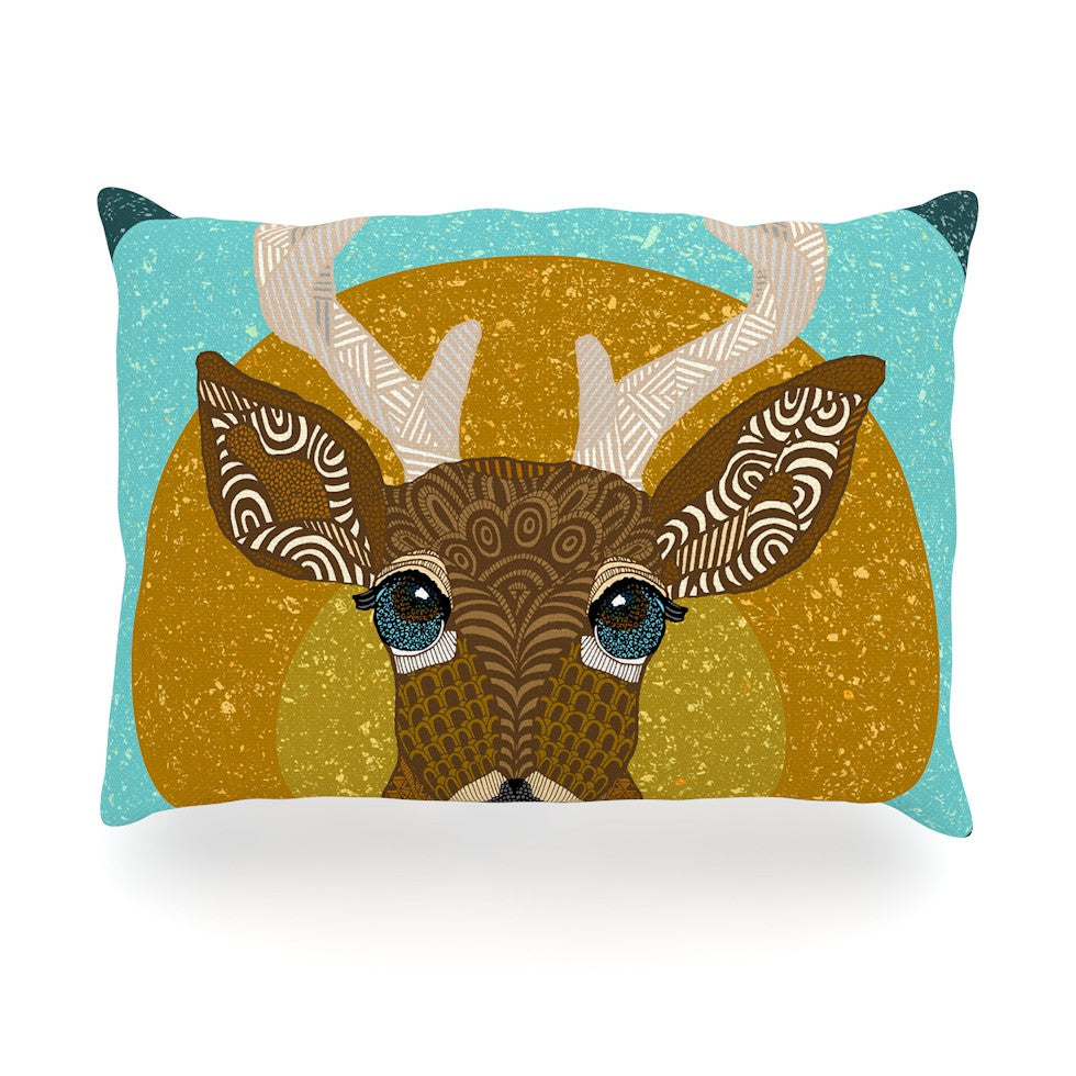"Art Love Passion ""Stag in Grass"" Yellow Blue Oblong Pillow - KESS InHouse"