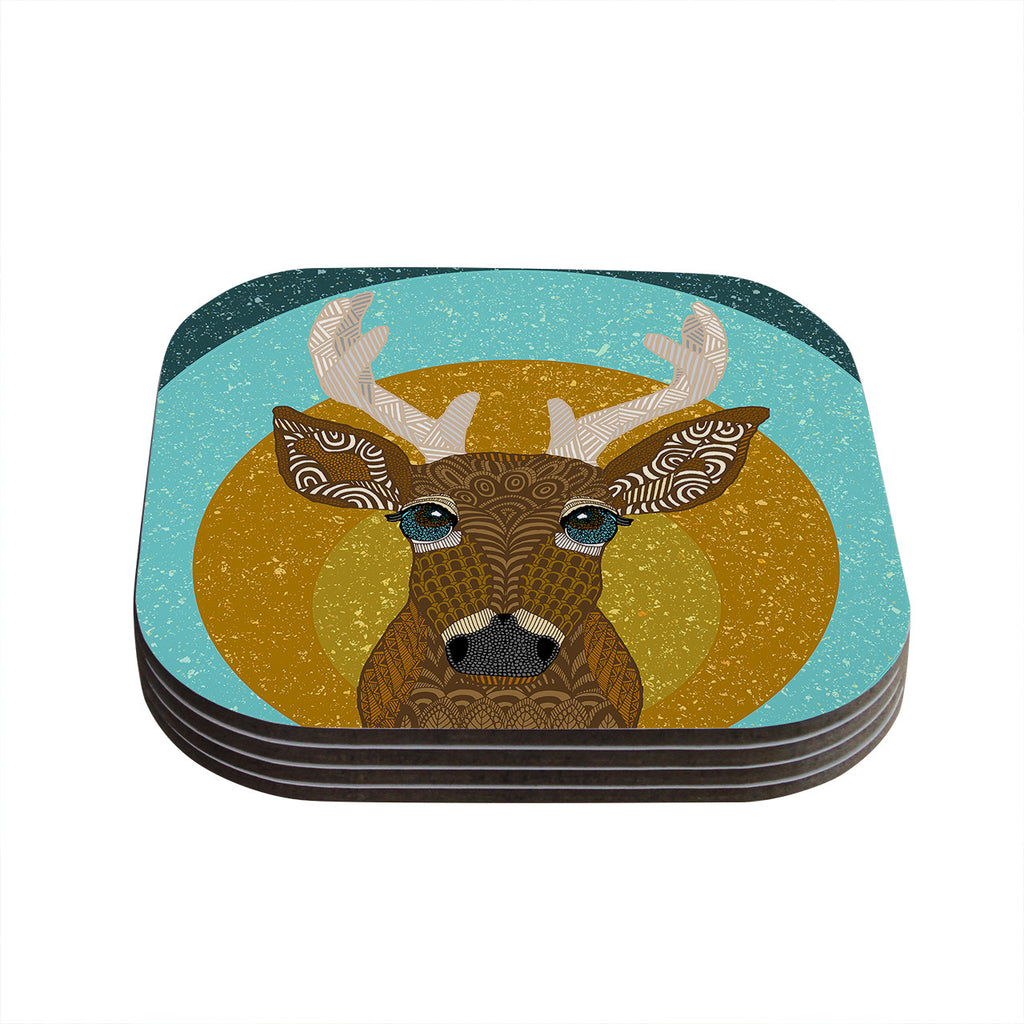 "Art Love Passion ""Stag in Grass"" Yellow Blue Coasters (Set of 4)"