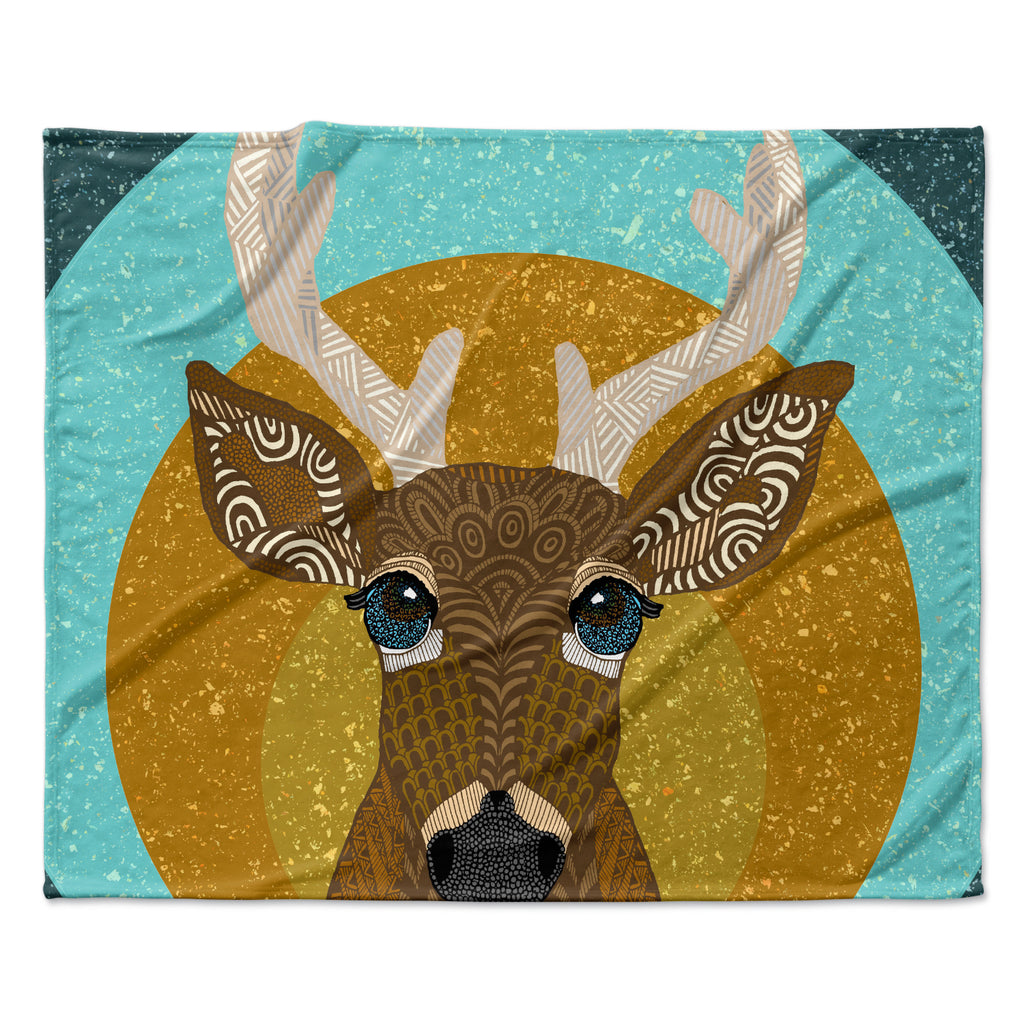 "Art Love Passion ""Stag in Grass"" Yellow Blue Fleece Throw Blanket"