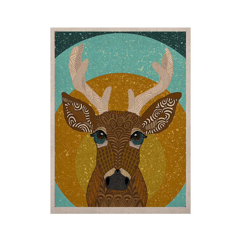 "Art Love Passion ""Stag in Grass"" Yellow Blue KESS Naturals Canvas (Frame not Included) - KESS InHouse  - 1"