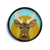 "Art Love Passion ""Stag in Grass"" Yellow Blue Modern Wall Clock"