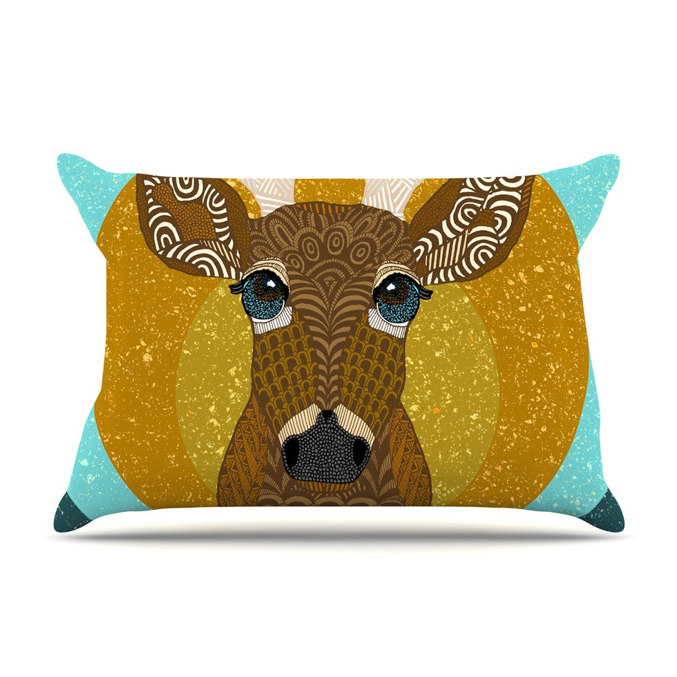 "Art Love Passion ""Stag in Grass"" Yellow Blue Pillow Sham - KESS InHouse  - 1"