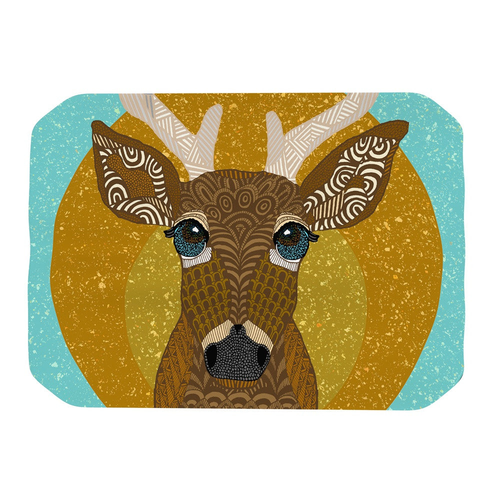 "Art Love Passion ""Stag in Grass"" Yellow Blue Place Mat - KESS InHouse"