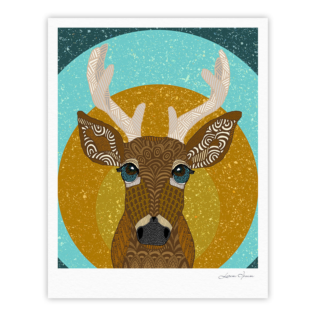 "Art Love Passion ""Stag in Grass"" Yellow Blue Fine Art Gallery Print - KESS InHouse"