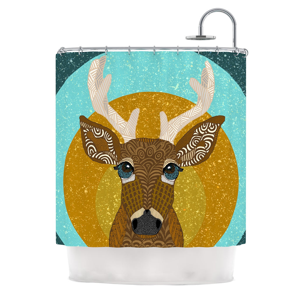 "Art Love Passion ""Stag in Grass"" Yellow Blue Shower Curtain - KESS InHouse"