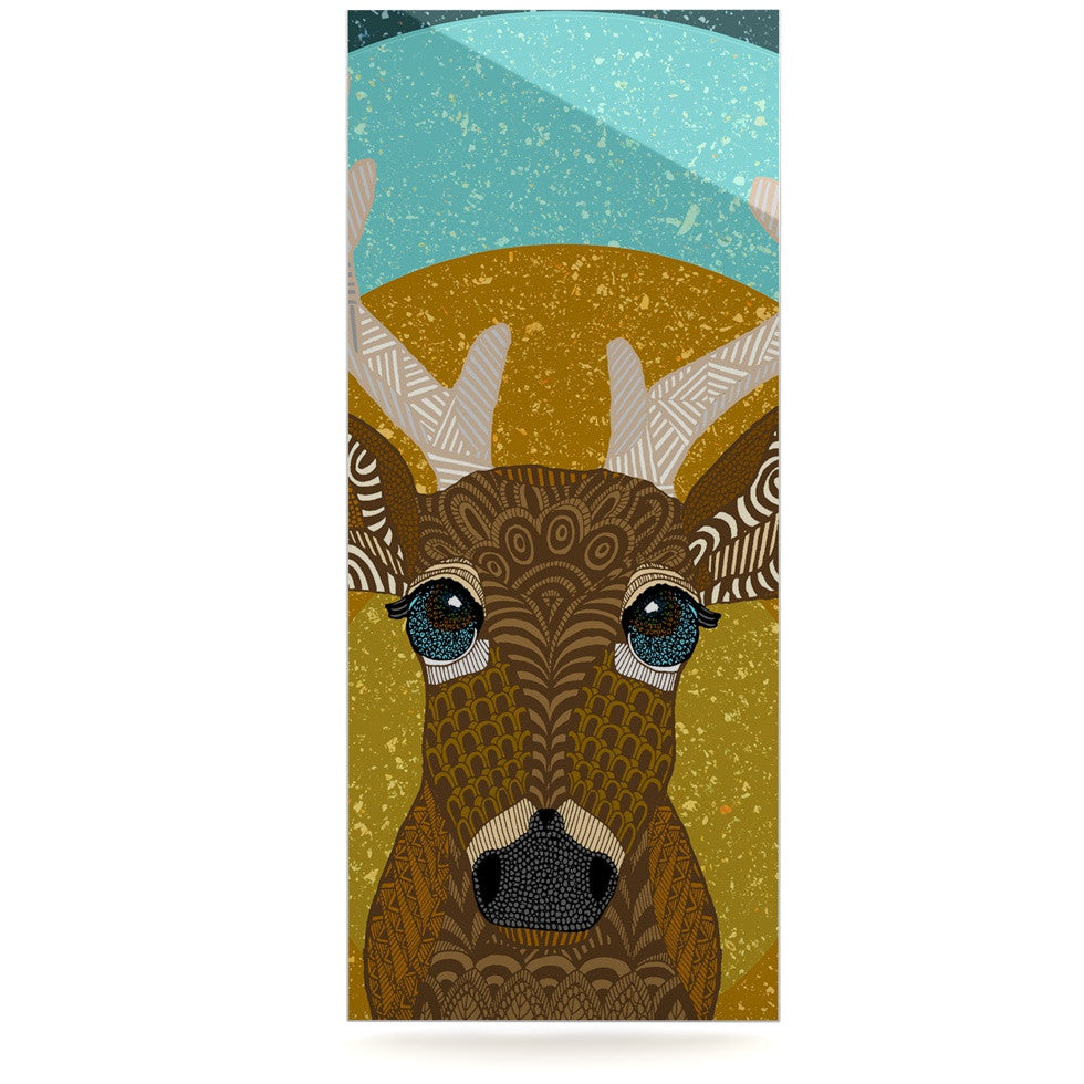 "Art Love Passion ""Stag in Grass"" Yellow Blue Luxe Rectangle Panel - KESS InHouse  - 1"