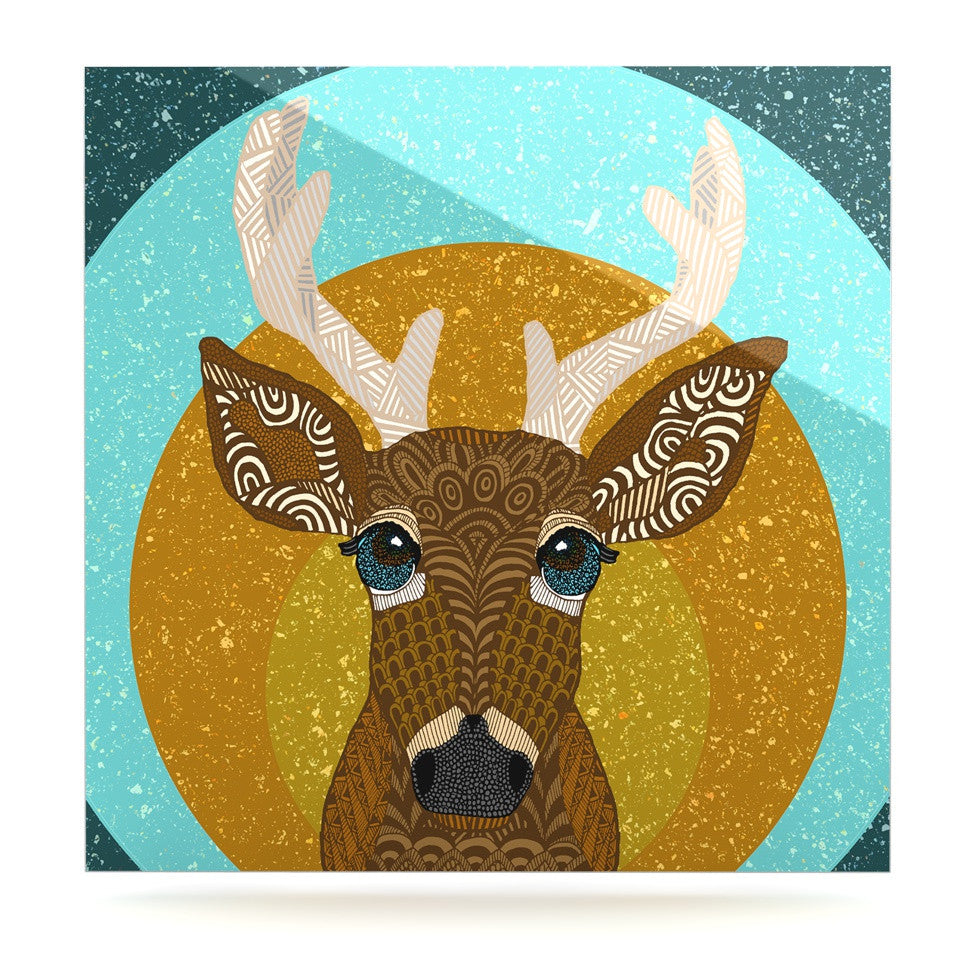 "Art Love Passion ""Stag in Grass"" Yellow Blue Luxe Square Panel - KESS InHouse  - 1"