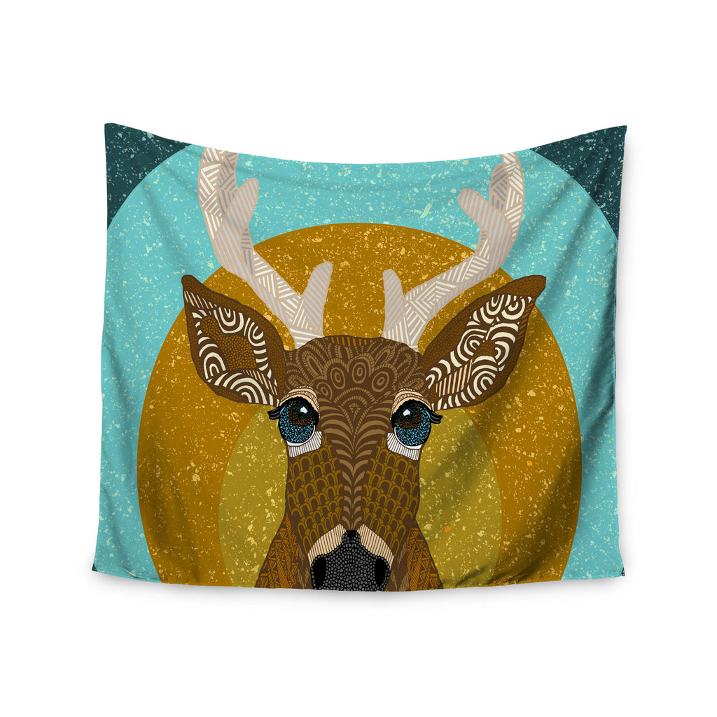 "Art Love Passion ""Stag in Grass"" Yellow Blue Wall Tapestry - KESS InHouse  - 1"