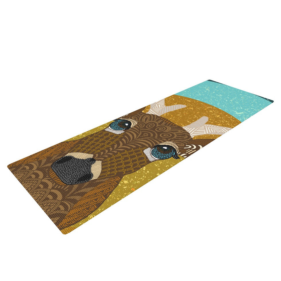 "Art Love Passion ""Stag in Grass"" Yellow Blue Yoga Mat - KESS InHouse  - 1"