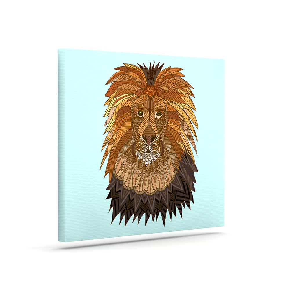 "Art Love Passion ""Lion"" Blue Brown Canvas Art - KESS InHouse  - 1"