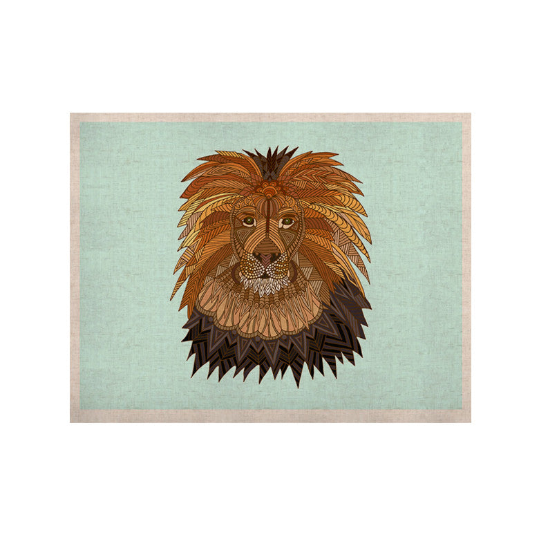 "Art Love Passion ""Lion"" Blue Brown KESS Naturals Canvas (Frame not Included) - KESS InHouse  - 1"