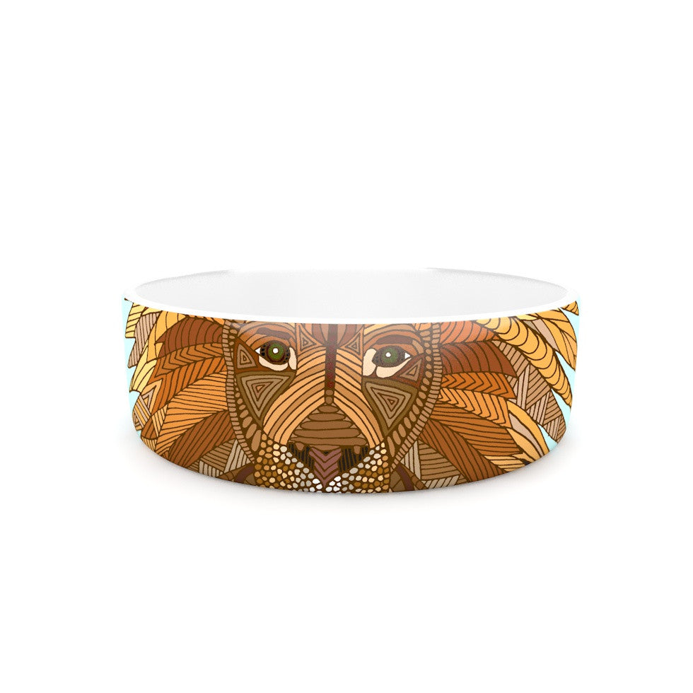 "Art Love Passion ""Lion"" Blue Brown Pet Bowl - KESS InHouse"
