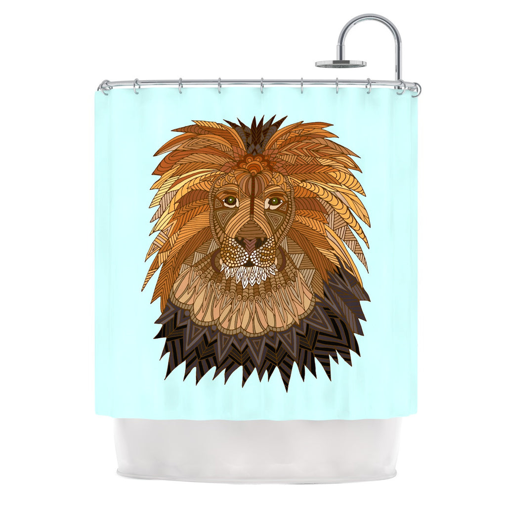 "Art Love Passion ""Lion"" Blue Brown Shower Curtain - KESS InHouse"