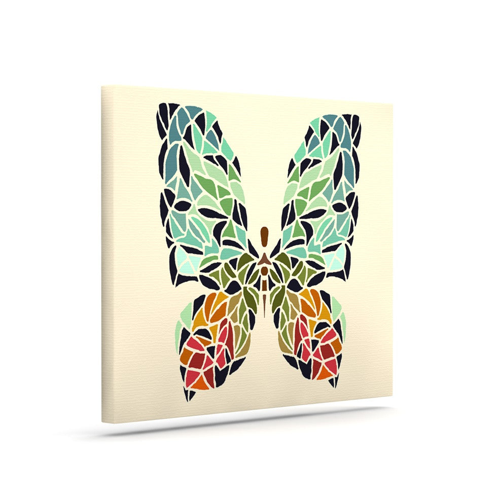 "Art Love Passion ""Butterfly"" Brown Multicolor Canvas Art - KESS InHouse  - 1"