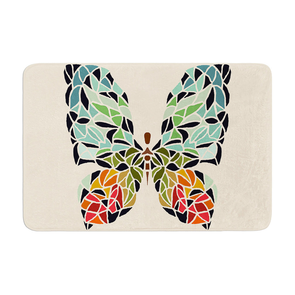 "Art Love Passion ""Butterfly"" Brown Multicolor Memory Foam Bath Mat - KESS InHouse"